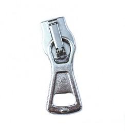 kompakter Schieber für breite metallisierte Reißverschlüsse, silber glänzend