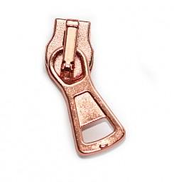 kompakter Schieber für breite metallisierte Reißverschlüsse, kupfer glänzend