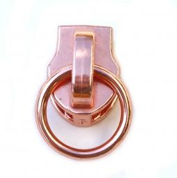 kupferfarbener Schieber mit Ring für metallisierte Reißverschlüsse