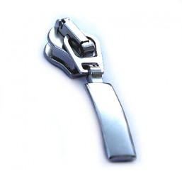 glänzender silberner Schieber mit Bogenanhänger für breite metallisierte Reißverschlüsse