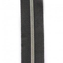 schmale metallisierte Reißverschlussmeterware anthrazit