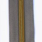Reißverschluss metallisiert mit goldener Spirale, taupe (beige)
