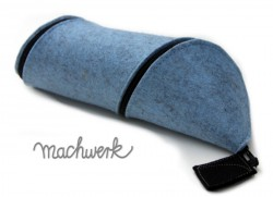 Spiralmäppchen aus Wollfilz - hellblau (Melange)