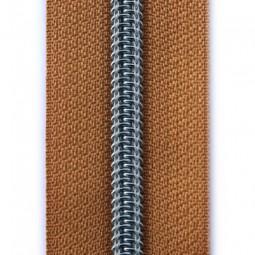 Reißverschluss metallisiert cognac hell
