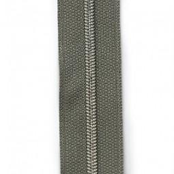 schmale metallisierte Reißverschlussmeterware mittelgrau