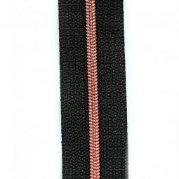 schmale metallisierte Reißverschlussmeterware schwarz mit kupferner Krampe