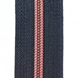 nachtblauer Reißverschluss metallisiert mit kupferner Krampe