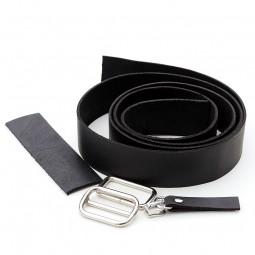 3 cm breiter Lederriemen, schwarz, Set für die Tasche Nepal