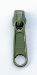 Schieber für schmale Reißverschlussmeterware - olivgrün