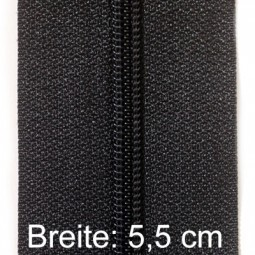 XXL-Reißverschluss 5,5 cm breit mit zwei Schiebern, schwarz