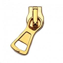kompakter Schieber für breite metallisierte Reißverschlüsse, gold