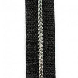 schmale metallisierte Reißverschlussmeterware schwarz