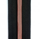 schwarzer Reißverschluss metallisiert mit kupferner Krampe