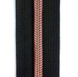 schwarzer Reißverschluss metallisiert mit kupferner Spirale