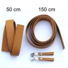 2,5 cm breite Lederriemen, cognac, Set für die Tasche Duett