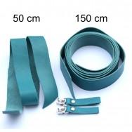 2,5 cm breite Lederriemen, helles petrol, Set für die Tasche Duett