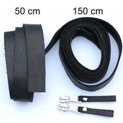 2,5 cm breite Lederriemen, schwarz, Set für die Tasche Duett