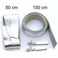 2,5 cm breite Lederriemen, silber, Set für die Tasche Duett